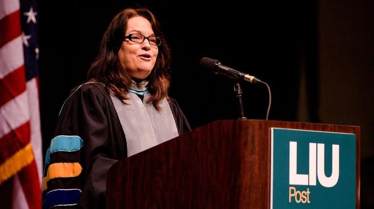 President Kimberly R. Cline speaks as LIU Post