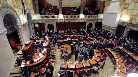 New York state senators meet in the senate