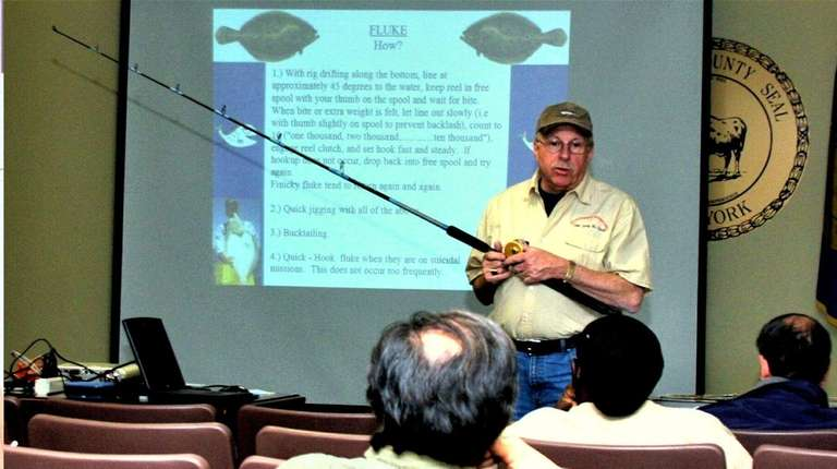 Jerry McGrath, coordinator/instructor at Sportfishing Adventures, lectures a