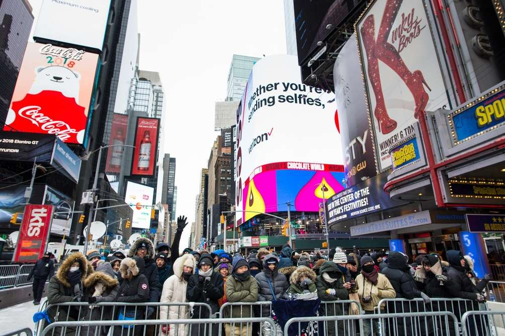 Revelers fill Times Square before the New Year's