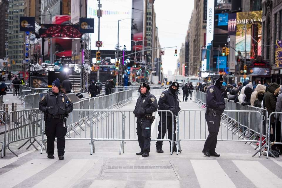 Police in Times Square before the New Year's