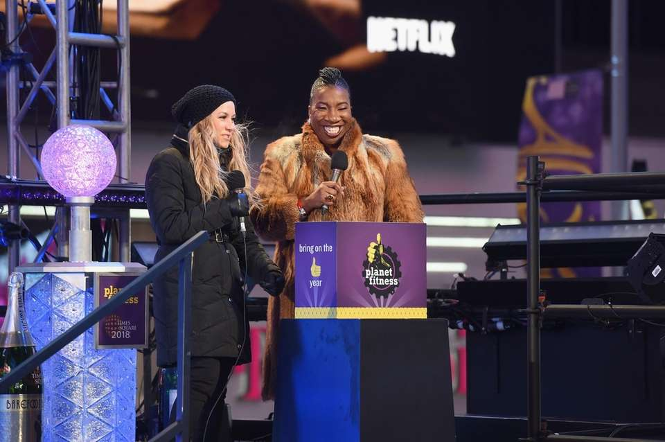 Tarana Burke, right, speaks onstage during Dick Clark's