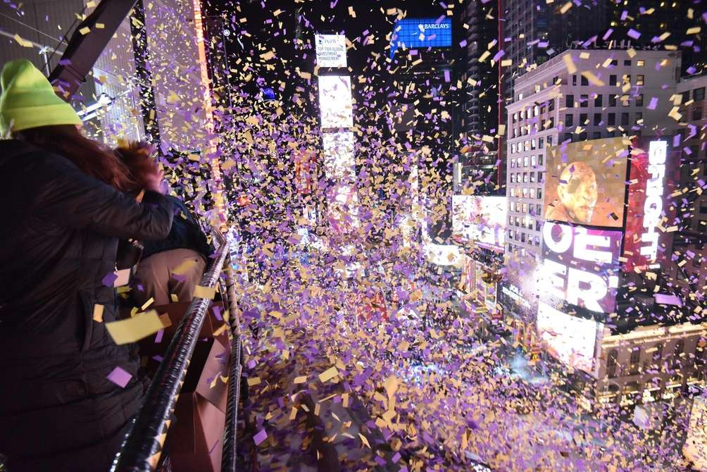 Confetti rains down on New Year's eve revelers