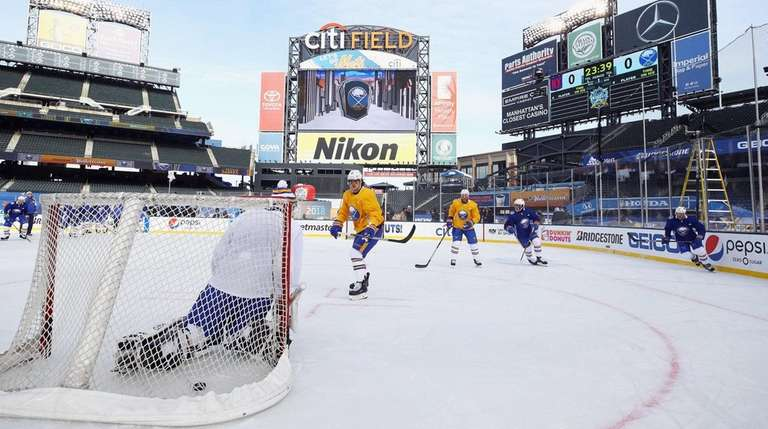 The Buffalo Sabres practice at Citi Field on