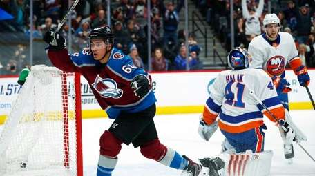 Colorado Avalanche right wing Nail Yakupov, left, of