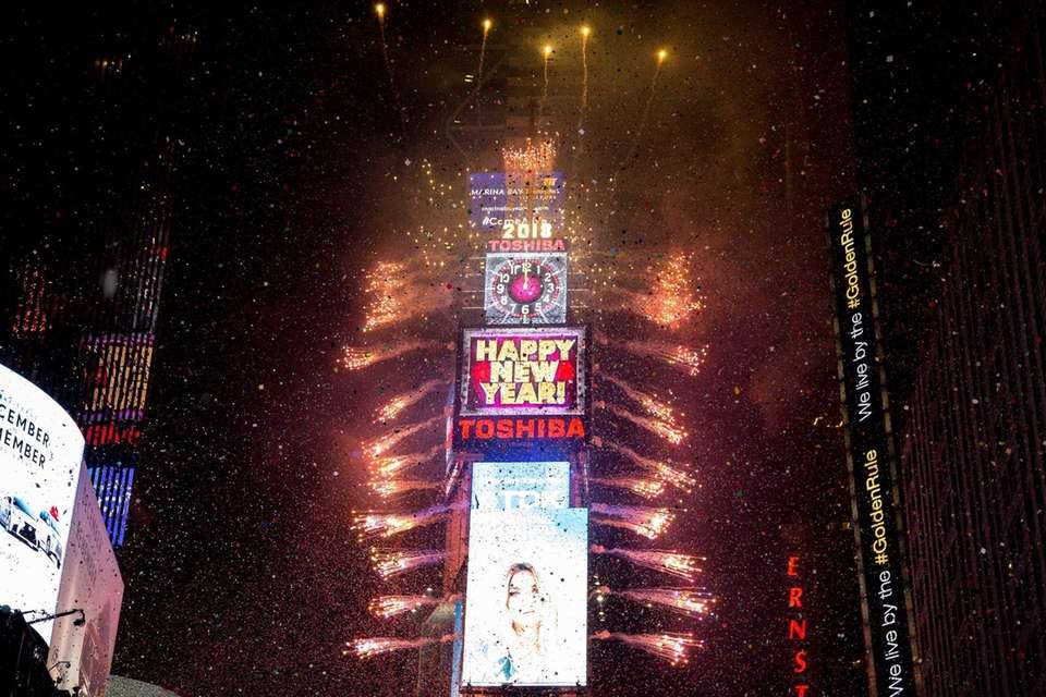 The New Year is celebrated at Times Square