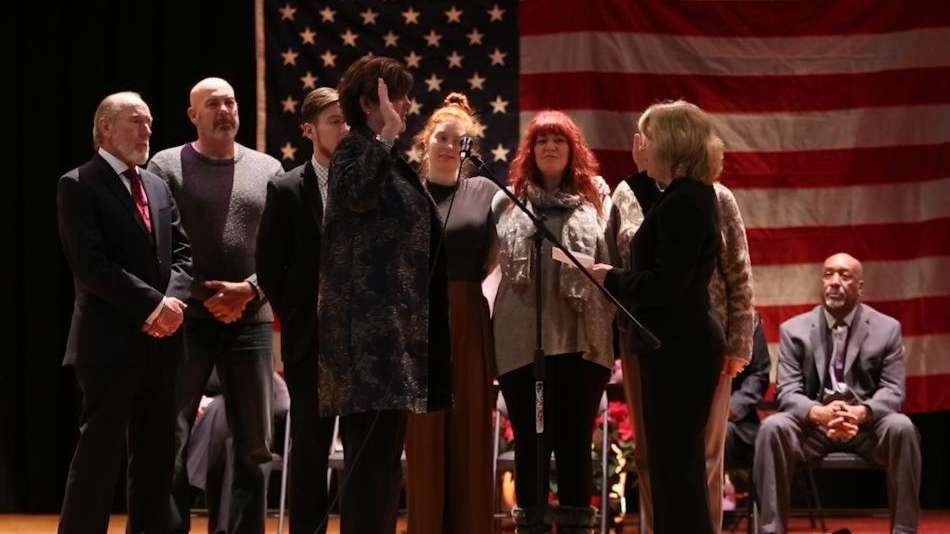 Laura Jens-Smith took the oath of office Monday,
