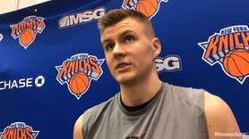 Knicks forward Kristaps Porzingis speaks after Monday's practice