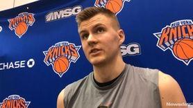 Knicks forward Kristaps Porzingis speaks after Monday's practice