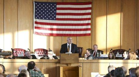 Long Beach Councilman John Bendo speaks after being