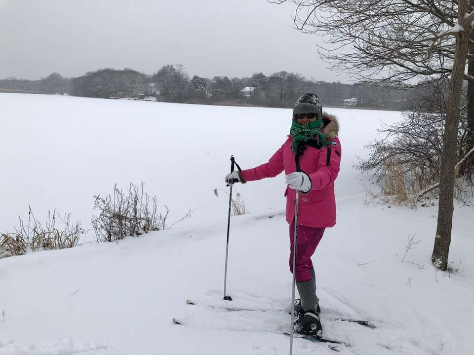 Cindi Sansone-Braff cross country skiing in East Patchogue