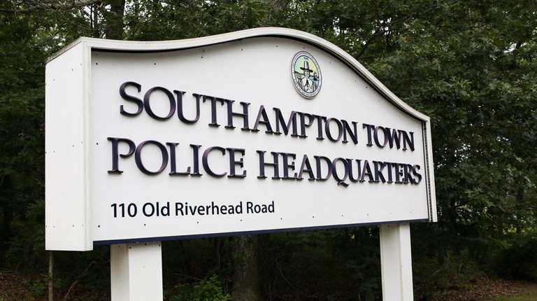 A sign for Southampton Town Police Headquarters in