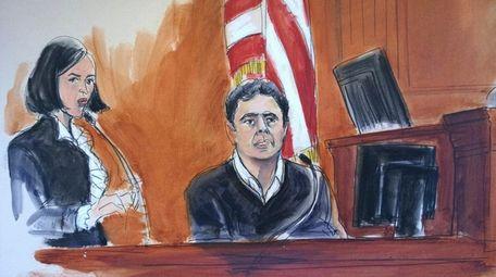 In this courtroom sketch, Mehmet Atilla, center, testifies