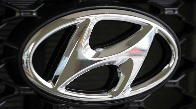 The logo of Hyundai Motor Co. is seen