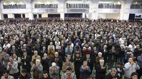 Iranian worshippers attend the Friday prayer ceremony in