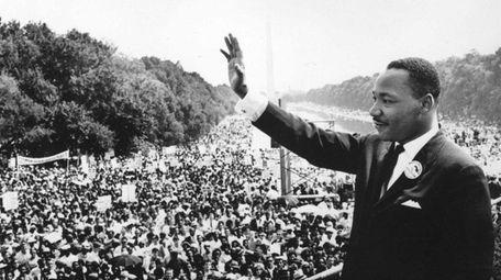 Civil rights leader Martin Luther King Jr. addresses