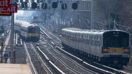 A view of LIRR trains in Floral Park