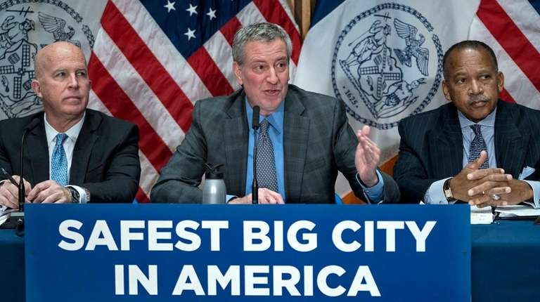 New York Mayor Bill de Blasio speaks during