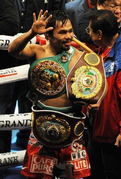 Manny Pacquiao of the Philippines celebrates after defeating