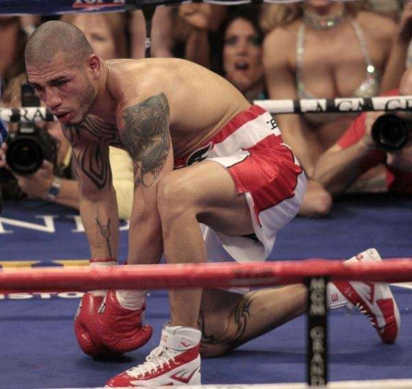 Miguel Cotto, of Puerto Rico, is on his