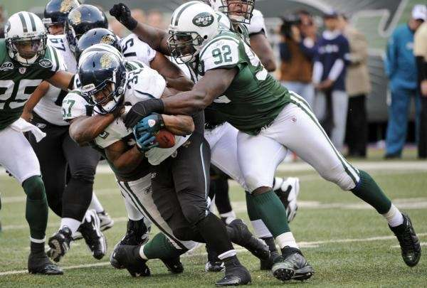 Jacksonville Jaguars running back Maurice Jones-Drew is tackled