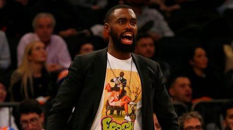 Tim Hardaway Jr. of the Knicks looks on