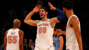 Enes Kanter of the Knicks reacts late in