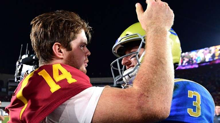 USC's Sam Darnold, left, and UCLA's Josh Rosen