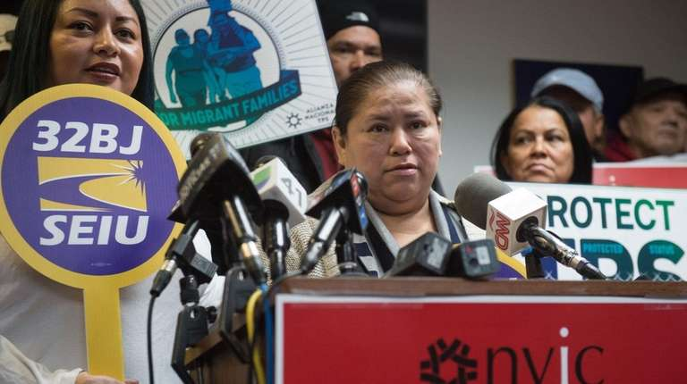 Minda Hernandez at a news conference in Manhattan