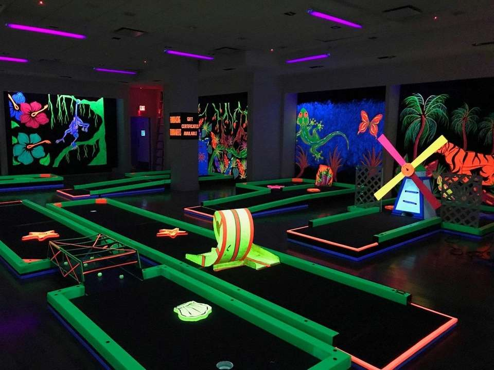 Glowgolf, a family-friendly indoor mini-golf course, is available