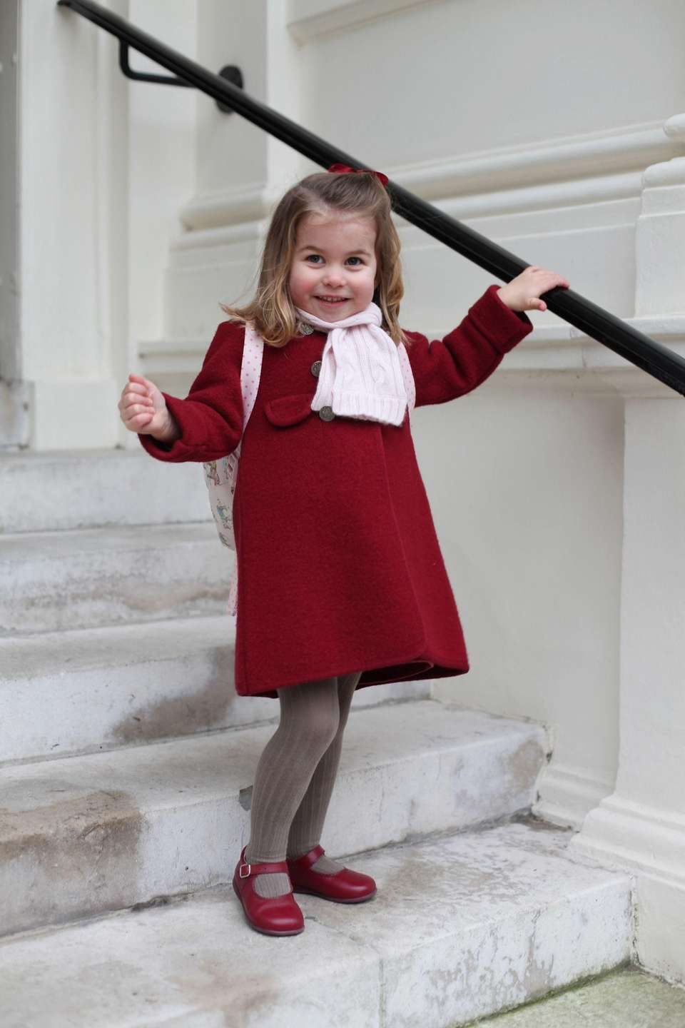 Princess Charlotte poses at Kensington Palace shortly before