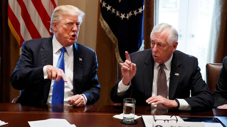 President Donald Trump speaks with Rep. Steny Hoyer,