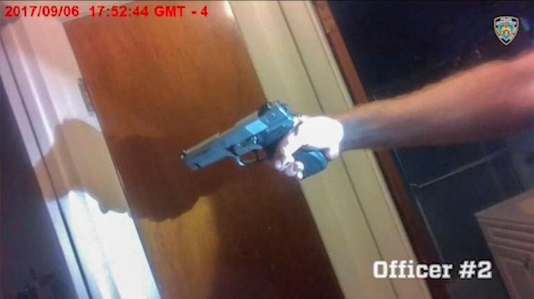 A still image from an officer's body-camera video