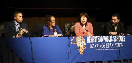 From left, Hempstead school board trustee Randy Stith,