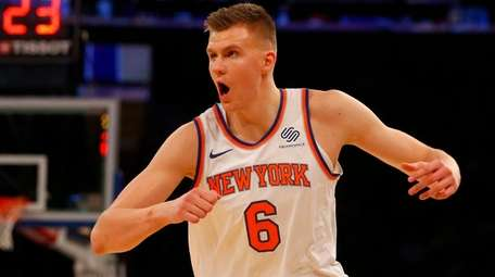 Kristaps Porzingis of the Knicks reacts in the