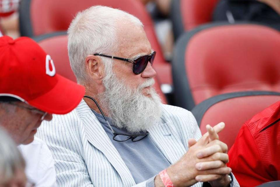 David Letterman attends a game between the St.