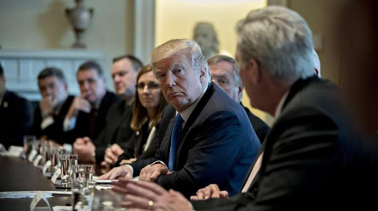 President Donald Trump holds a meeting on immigration