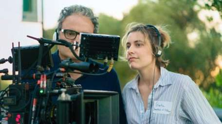 First-time director Greta Gerwig on the set of