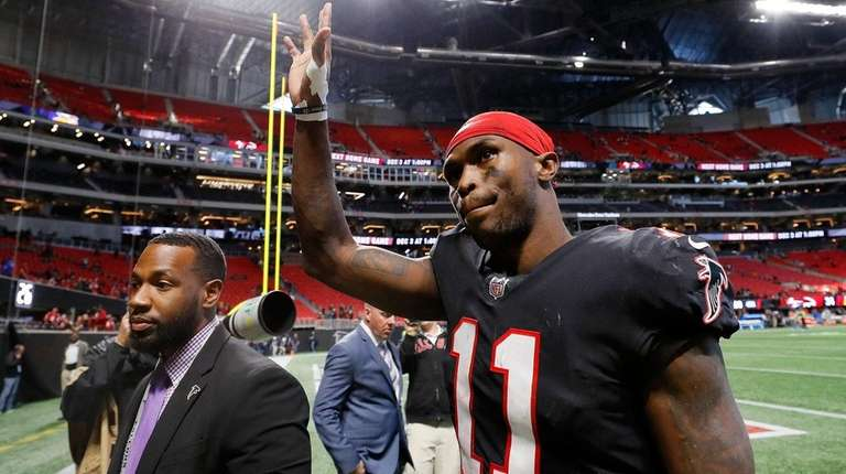 Julio Jones #11 of the Atlanta Falcons walks