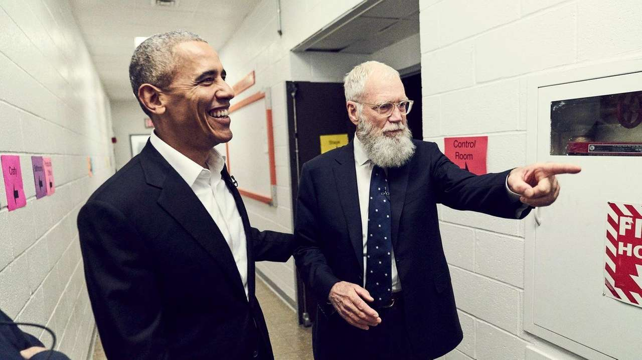 President Barack Obama with David Letterman, whose interview