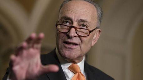 Senate Minority Leader Chuck Schumer, D-N.Y., speaks to