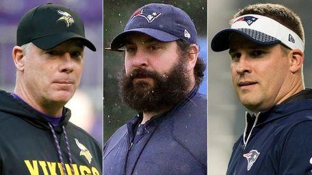 From left: Vikings offensive coordinator Pat Shurmur, Patriots