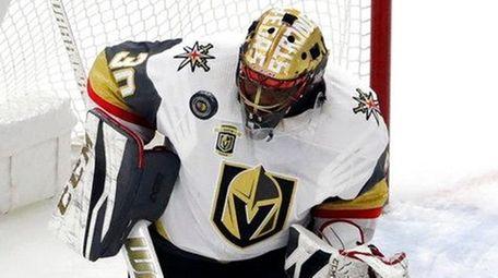 Vegas Golden Knights goalie Malcolm Subban stops a