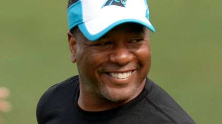 Then-Panthers defensive coordinator Steve Wilks during training camp
