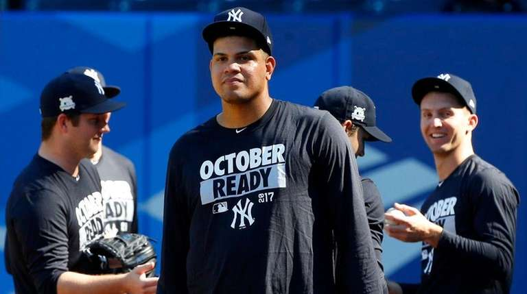 Dellin Betances of the Yankees looks on during