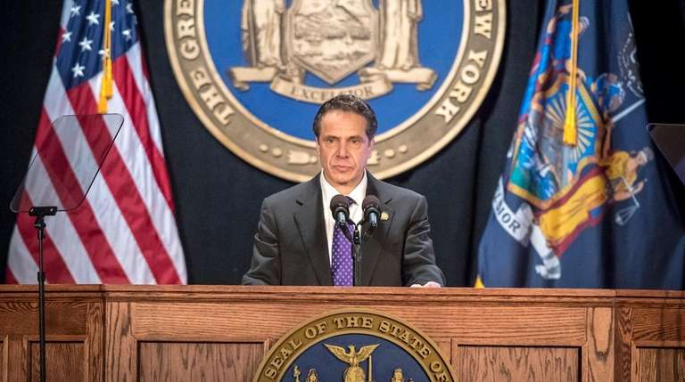New York State Governor Andrew Cuomo giving his