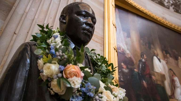 The bust of civil rights activist and leader