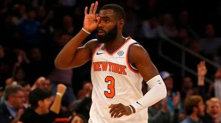 Tim Hardaway Jr. of the Knicks reacts after