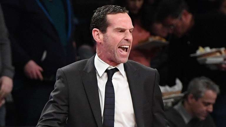Nets head coach Kenny Atkinson reacts against the