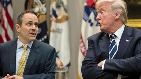 President Donald Trump and Kentucky Gov. Matt Bevin,